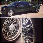 6 custom cut alcoa dually wheels w/tires