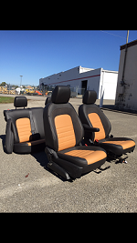 Leather/suede seat set with airbags
